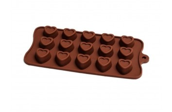 Форма силиконовая для конфет, льда Сердце №2 (с ободком) на планшетке