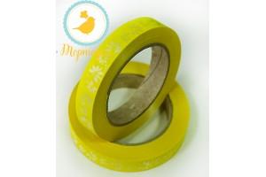Декоративная лента 2*50 с рисунками,цвет желтый