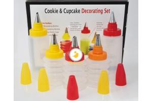 Набор для декорирования кексов и печенья( 5 емкостей с насадами)