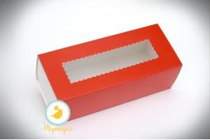 Коробка для макаронс красная  151х49х59 мм
