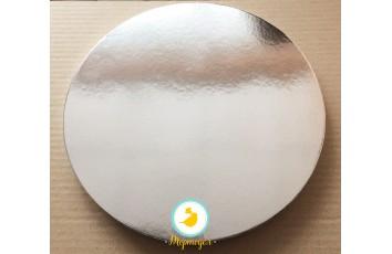 Поднос круглый усиленный d 30 см h-2см серебро/белое