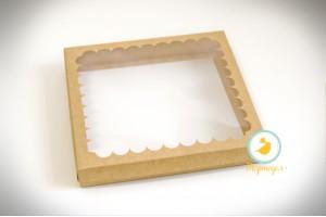 """Коробка для печенья,пряников с окошком 200х170х30  мм, крафт картон """"крышка-дно"""""""