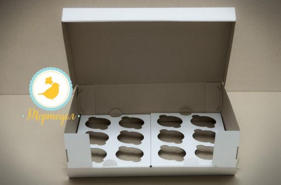 Коробка на 12 кексов 340*255*100 с открывающимся передом.Купить в Харькове,Киеве по лучшей цене в интернет- магазине Тортодел