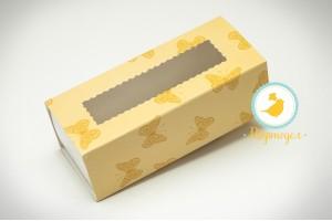 Коробка для Макаронс персиковые бабочки 141х59х49