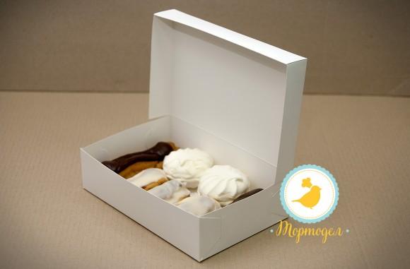 Коробка для еклеров, зефира, печенья и прочих десеротов 230*150*60 мм белый мелованный картон.Купить в Харькове,Киеве по лучшей цене в интернет- магазине Тортодел
