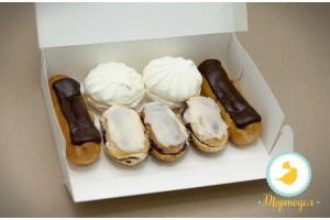 Коробка для еклеров, зефира, печенья и прочих десеротов 230*150*60 мм белый мелованный картон