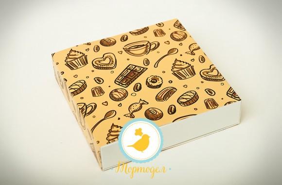 Коробка для конфет 185х185х42 на 16 штук №1 светлый фон.Купить в Харькове,Киеве по лучшей цене в интернет- магазине Тортодел