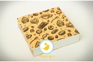 Коробка для конфет 185х185х42 на 16 штук №1 светлый фон