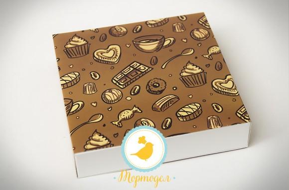 Коробка для конфет 185х185х42 на 16 штук №2 темный фон.Купить в Харькове,Киеве по лучшей цене в интернет- магазине Тортодел