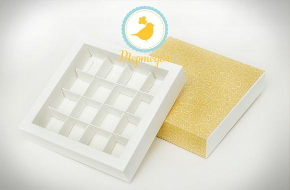 Коробка для конфет 185х185х42 на 16 штук №3 винтажный фон.Купить в Харькове,Киеве по лучшей цене в интернет- магазине Тортодел