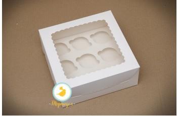 Упаковка на 9 кексов 250*250*110 с окошком мелованный картон