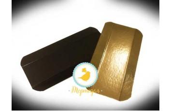Подложка прямоугольная с бигом под эклеры 7х14 см черное/золото