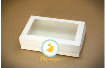 Коробка для эклеров, зефира, печенья и прочих десертов 230*150*60 мм с окном белый мелованный картон