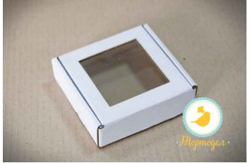 Коробка для печенья,пряников с окошком 100х100х30 мм белая