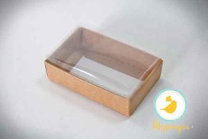 Коробка для конфет 95х60х30 с прозрачной крышкой Крафт