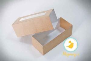 Коробка для Макаронс Крафт141х59х49 (крышка/дно крафт)