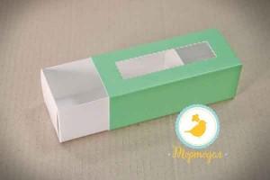 Коробка для Макаронс Мятная 141х59х49