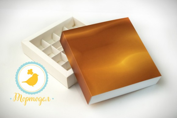 Коробка для конфет 185х185х42 на 16 штук №4 Золотой фон. белый мелованный картон.Купить в Харькове,Киеве по лучшей цене в интернет- магазине Тортодел