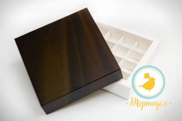 Коробка для конфет 185х185х42 на 16 штук №4 Шоколадный фон. белый мелованный картон.Купить в Харькове,Киеве по лучшей цене в интернет- магазине Тортодел