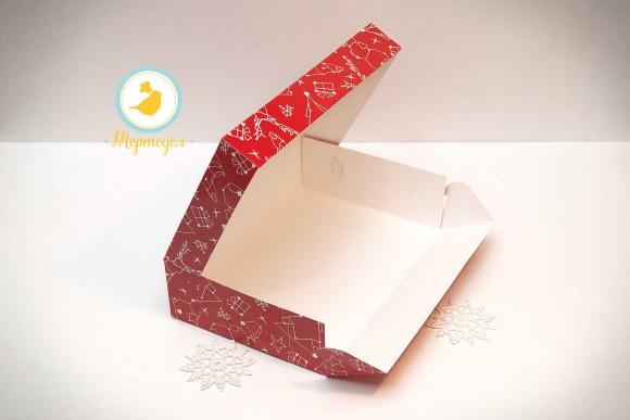 Коробка для еклеров, зефира, печенья и прочих десертов 230*150*60 мм Новогодняя красная.Купить в Харькове,Киеве по лучшей цене в интернет- магазине Тортодел