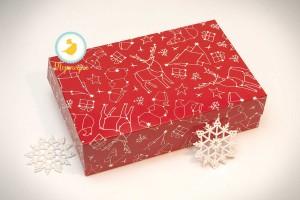 Коробка для еклеров, зефира, печенья и прочих десертов 230*150*60 мм Новогодняя красная