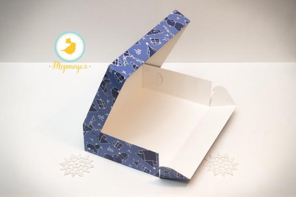 Коробка для еклеров, зефира, печенья и прочих десертов 230*150*60 мм Новогодняя синяя.Купить в Харькове,Киеве по лучшей цене в интернет- магазине Тортодел