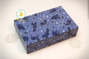 Коробка для еклеров, зефира, печенья и прочих десертов 230*150*60 мм Новогодняя синяя