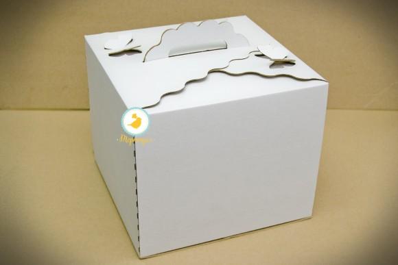 Коробка для торта 300х300х250 с бабочками  с открывающимся передом.Купить в Харькове,Киеве по лучшей цене в интернет- магазине Тортодел