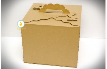 Коробка для торта крафт 300х300х250 с бабочками