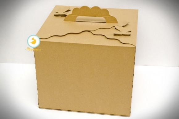 Коробка для торта крафт 300х300х250 с бабочками  с открывающимся передом.Купить в Харькове,Киеве по лучшей цене в интернет- магазине Тортодел