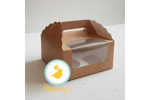 Коробка на 4 кекса 170х170х85 с ручкой крафт