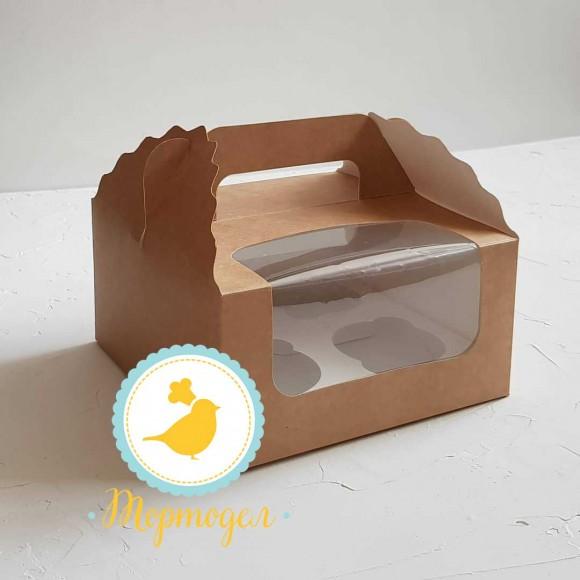 Коробка на 4 кекса 170х170х85 с ручкой крафт.Купить в Харькове,Киеве по лучшей цене в интернет- магазине Тортодел