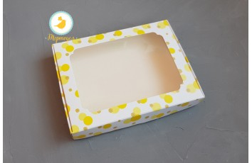 Коробка для пряников с окошком 200х150х30  мм Желтая