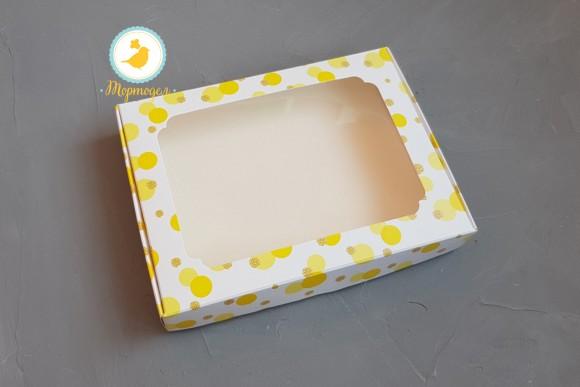 Коробка для пряников с окошком 200х150х30  мм Желтая.Купить в Харькове,Киеве по лучшей цене в интернет- магазине Тортодел