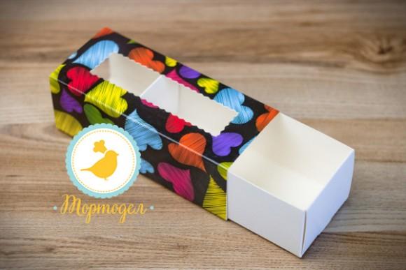 Коробка для Макаронс Сердца темный фон 141х59х49.Купить в Харькове,Киеве по лучшей цене в интернет- магазине Тортодел