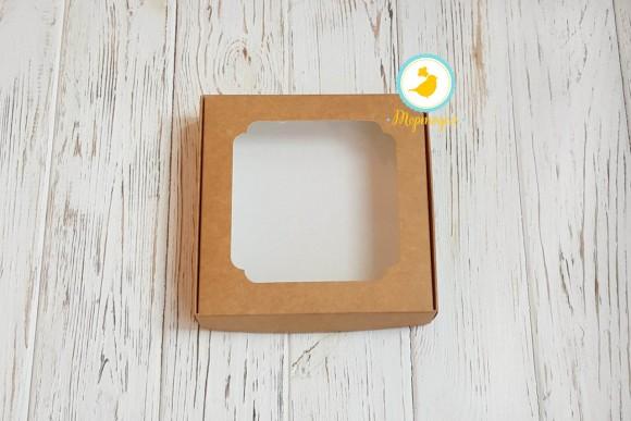 Коробка для сладостей с окошком 150х150х30 мм крафт картон.Купить в Харькове,Киеве по лучшей цене в интернет магазине Тортодел