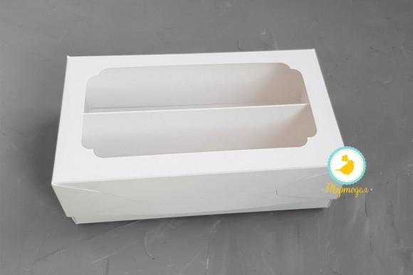 Коробка для Макаронс Double 200х120х60 мм мелованная белая.Купить в Харькове,Киеве по лучшей цене в интернет магазине Тортодел
