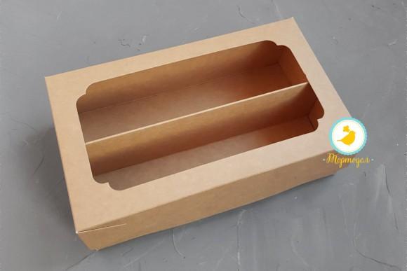 Коробка для Макаронс Double 200х120х60 мм  крафт картон.Купить в Харькове,Киеве по лучшей цене в интернет магазине Тортодел