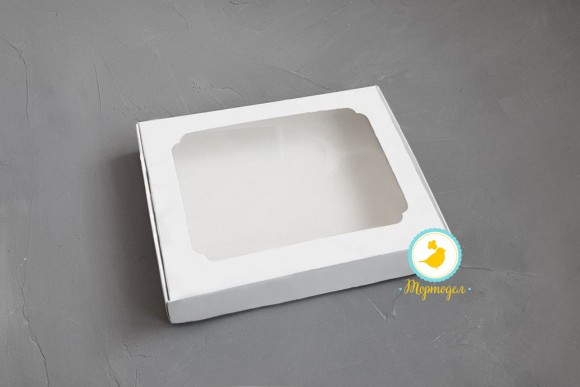 Коробка для пряников с окошком 200х150х30 мм Белая.Купить в Харькове,Киеве по лучшей цене в интернет магазине Тортодел