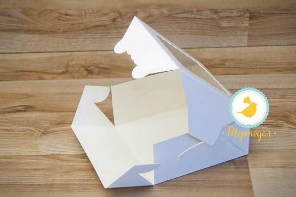 Коробка для печенья с окошком 140х140х40 мм мелованный картон.Купить в Харькове,Киеве по лучшей цене в интернет магазине Тортодел