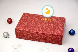 Коробка для еклеров, зефира, печенья и прочих десертов 230*150*60 мм Праздничная красная