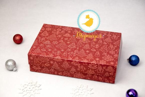 Коробка для еклеров, зефира, печенья и прочих десертов 230*150*60 мм Праздничная красная.Купить в Харькове,Киеве по лучшей цене в интернет магазине Тортодел