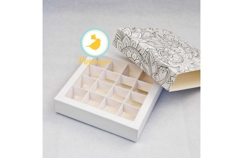 Коробка для конфет 185х185х42 на 16 штук №9 Раскраска