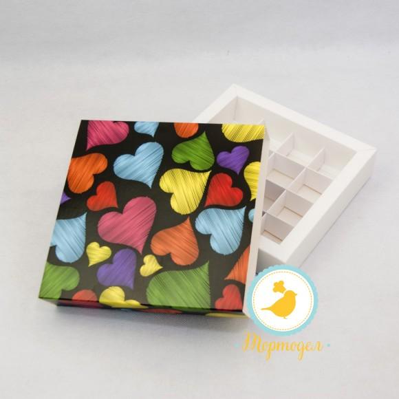 Коробка для конфет 185х185х42 на 16 штук №10 Сердца.Купить в Харькове,Киеве по лучшей цене в интернет- магазине Тортодел