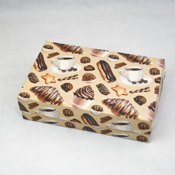 Коробка для еклеров, зефира, печенья и прочих десертов 230*150*60 мм Сладкий фон.Купить в Харькове,Киеве по лучшей цене в интернет- магазине Тортодел