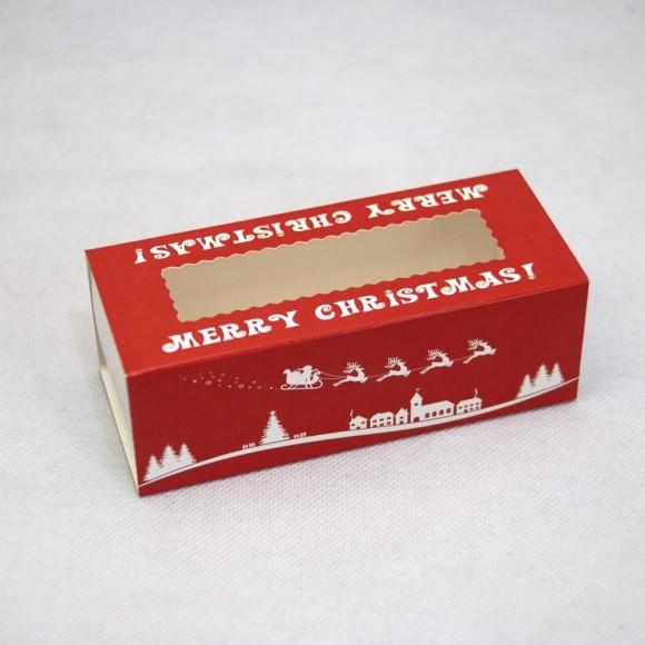 Коробка для макаронс Новогодняя красная 141х59х49.Купить в Харькове,Киеве по лучшей цене в интернет- магазине Тортодел