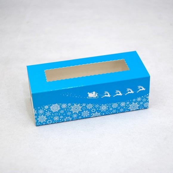 Коробка для макаронс Новогодняя синяя  141х59х49.Купить в Харькове,Киеве по лучшей цене в интернет- магазине Тортодел