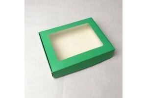 Коробка для печенья,пряников с окошком 192х148х40 мм Зеленая