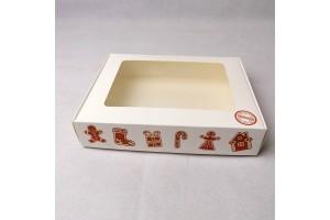 Коробка для печенья,пряников с окошком 192х148х40 мм Имбирное печенье