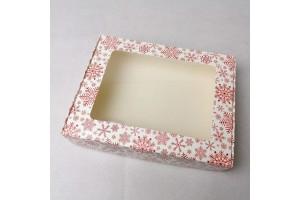 Коробка для печенья,пряников с окошком 192х148х40 мм Снежинка красная